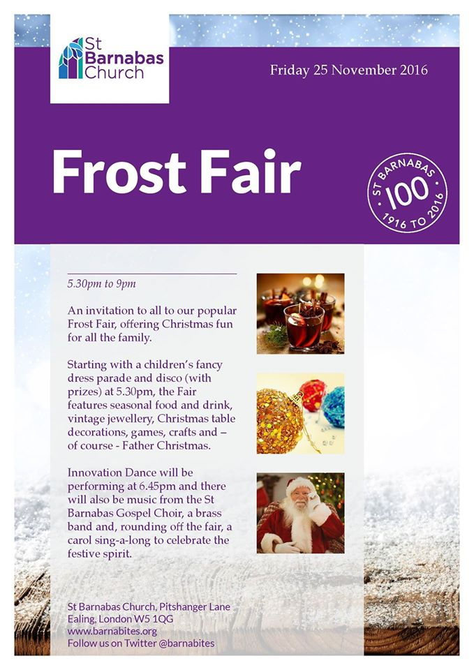 Frost Fair. Friday 25th November, 5.30 - 9pm. St Barnabas