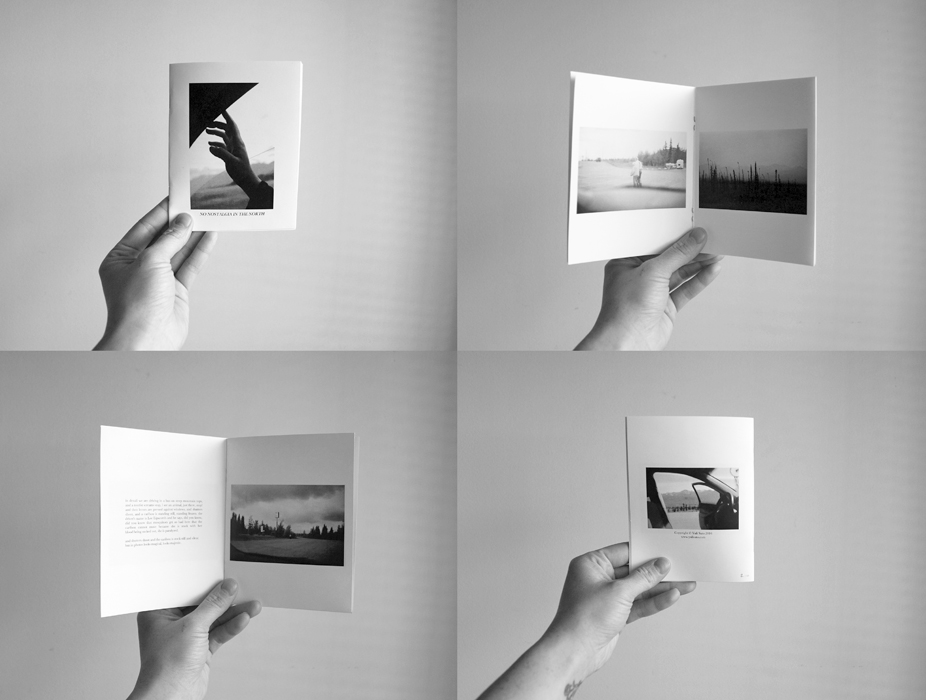 """No Nostalgia in the North (2016)  16 pages, 5.5"""" x 4.5"""", colour and b&w, staple-bound.  Photographs and writing exploring themes of melancholy, memory, ritual and romance.  Edition of 50.   SOLD OUT"""