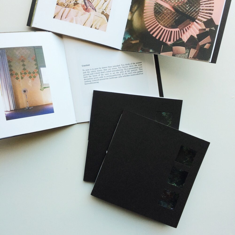 """FOUND by Malform  (2016)  My photographs & writing appear in FOUND by Malform.  5.25"""" x 5.5"""", digitally printed, thread bound & hand cut.21 pages, colour and b/w. Printed in Calgary, AB.  Edition of 99."""
