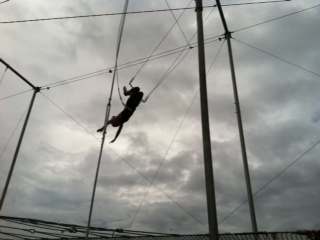 Anne's daughter, Alexandra, flies on the flying trapeze!