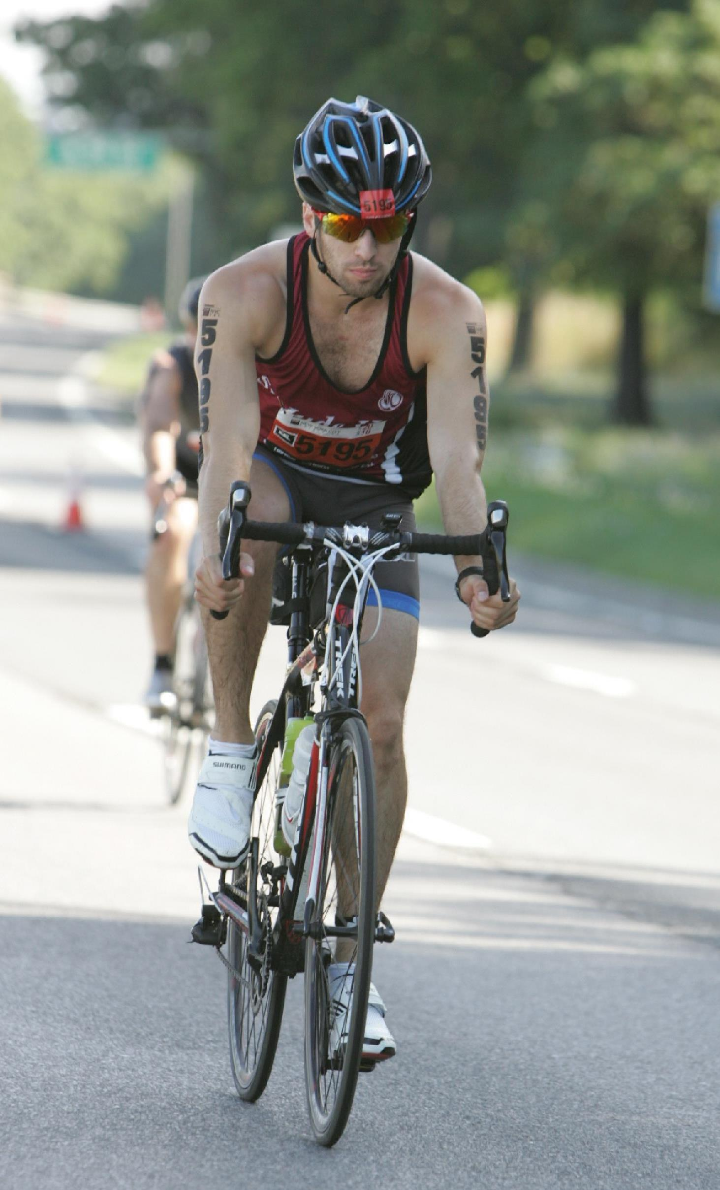 Ben Samit rides the bike portion of the NYC Triathlon 2016