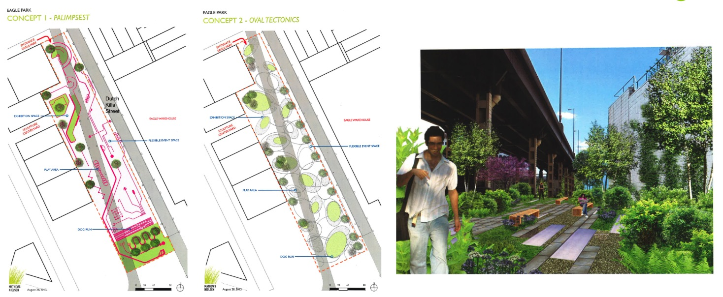 "2013 - RockRose commissions Mathews Nielsen on a ""Concept Proposal"" and advocates to City to convert the DOT space into Public Space in conjunction with other stakeholders such CSCA, Community Board 2, and others"