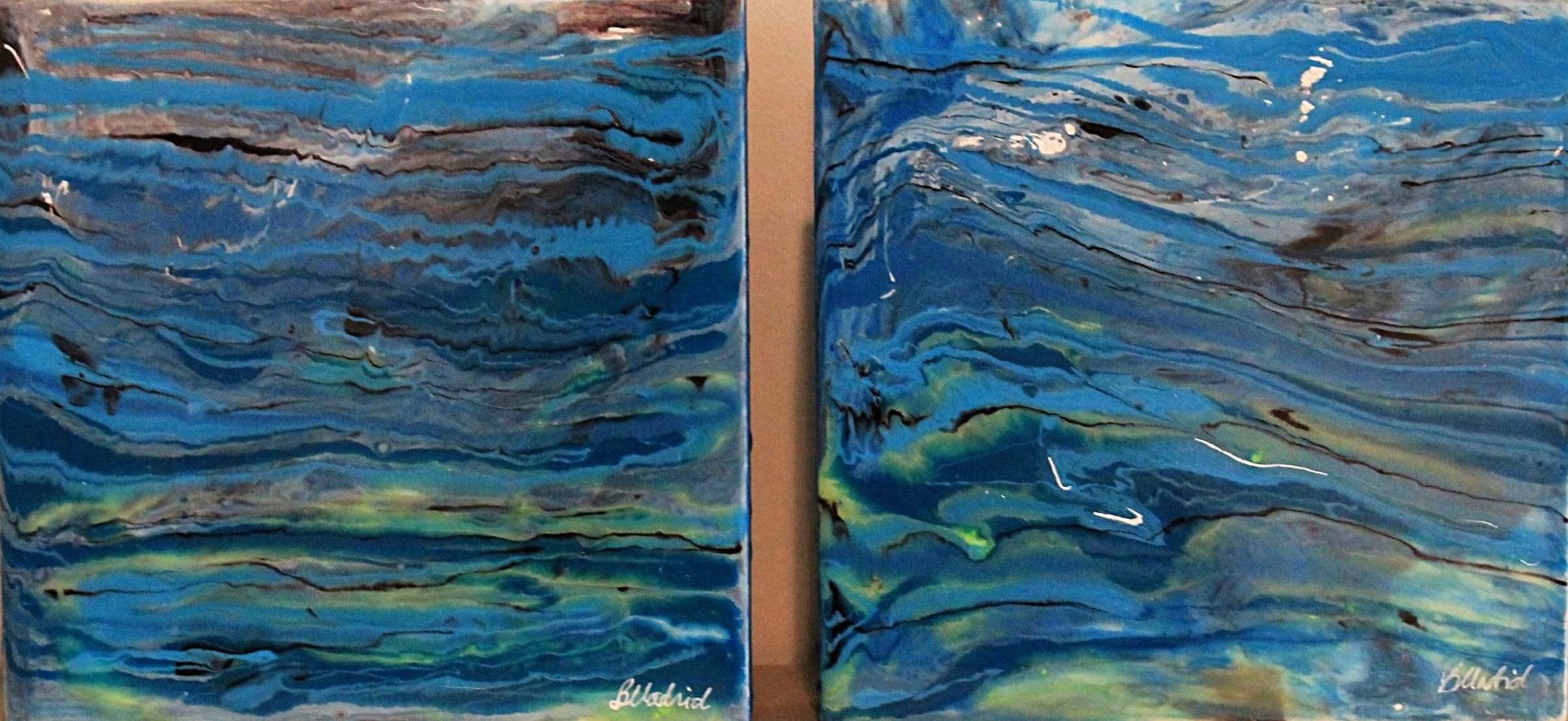 "Riptide | set of 2 10"" x 10"" on wooden canvas"