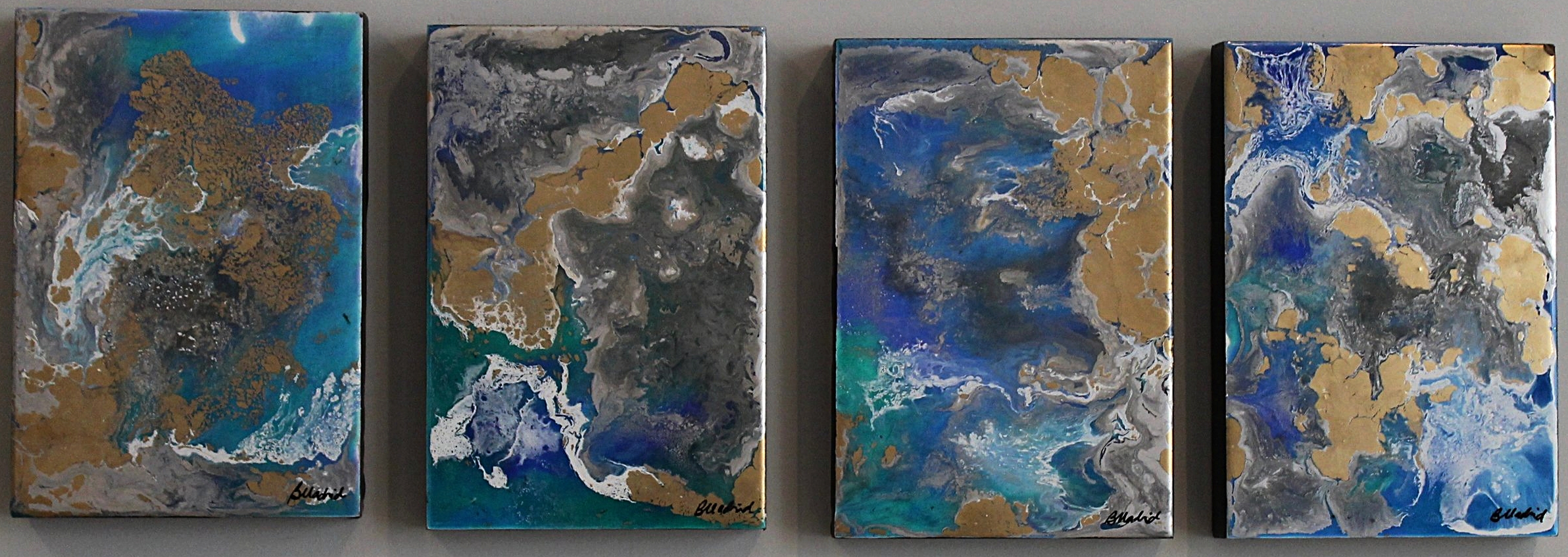 "View from Space | set of 3 11"" x 7.5"" on wooden canvas"