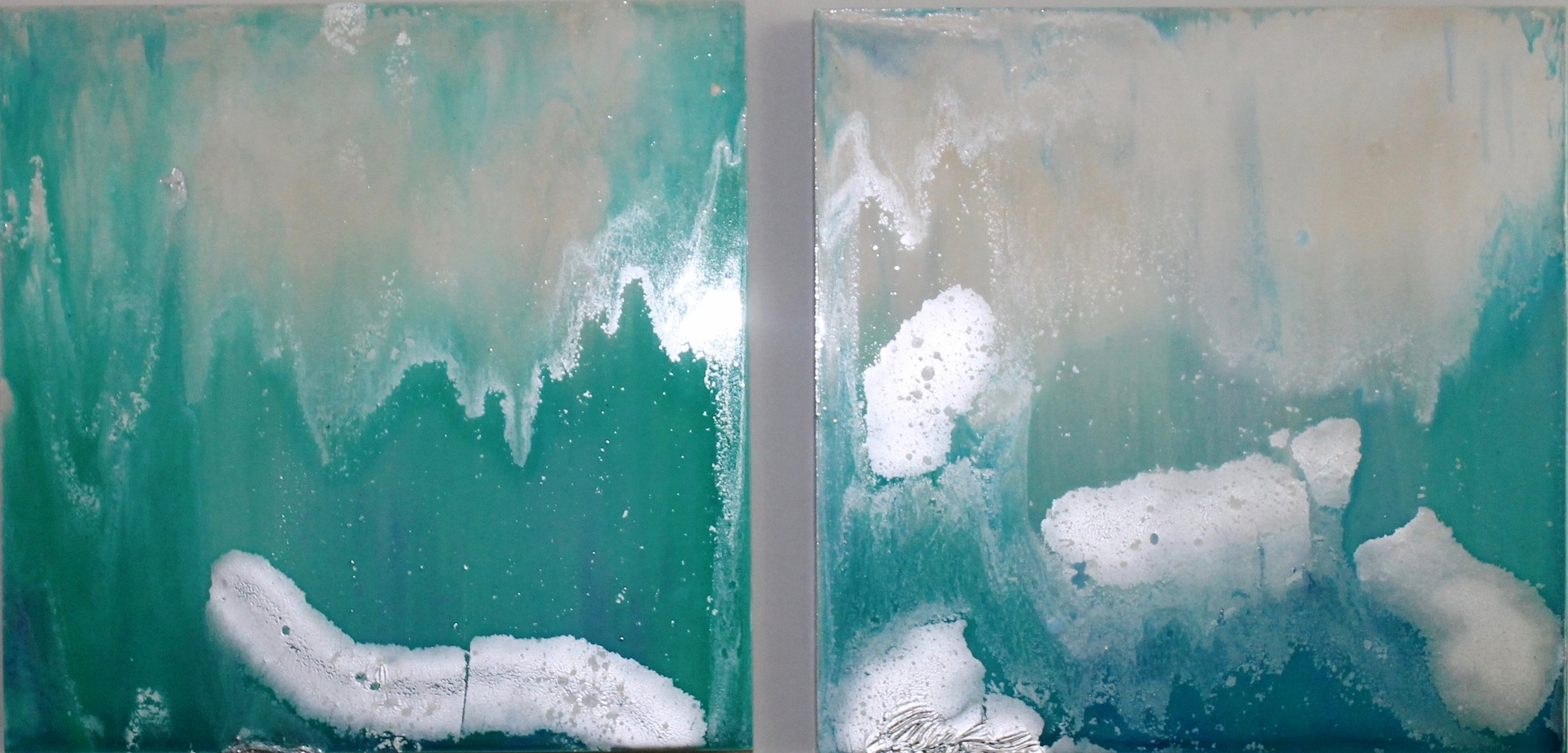 "Arctic Blast | set of 2 18"" x 18"" on wooden canvas"