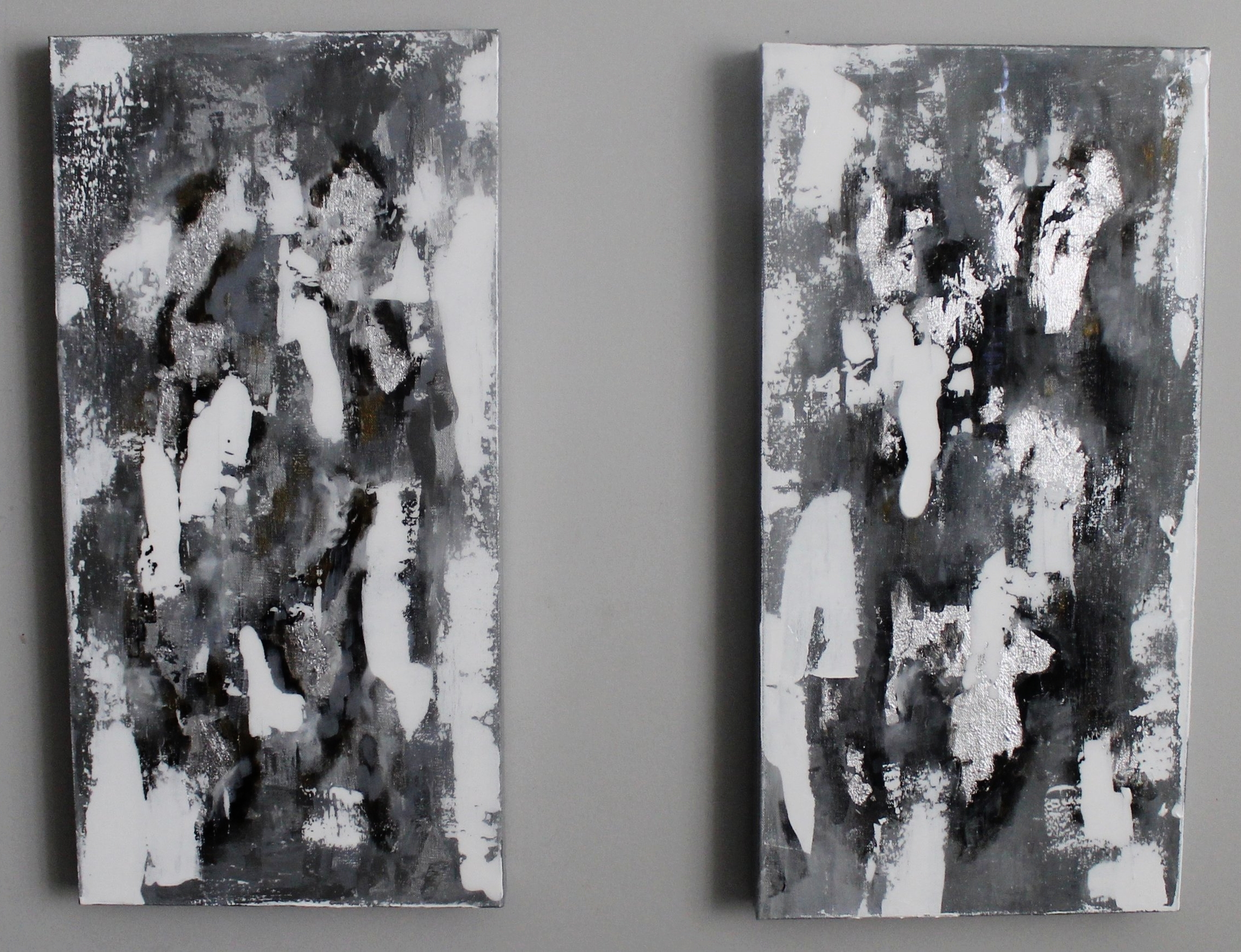 "SOLD | First Snow | set of 2 24"" x 12"" on soft canvas"