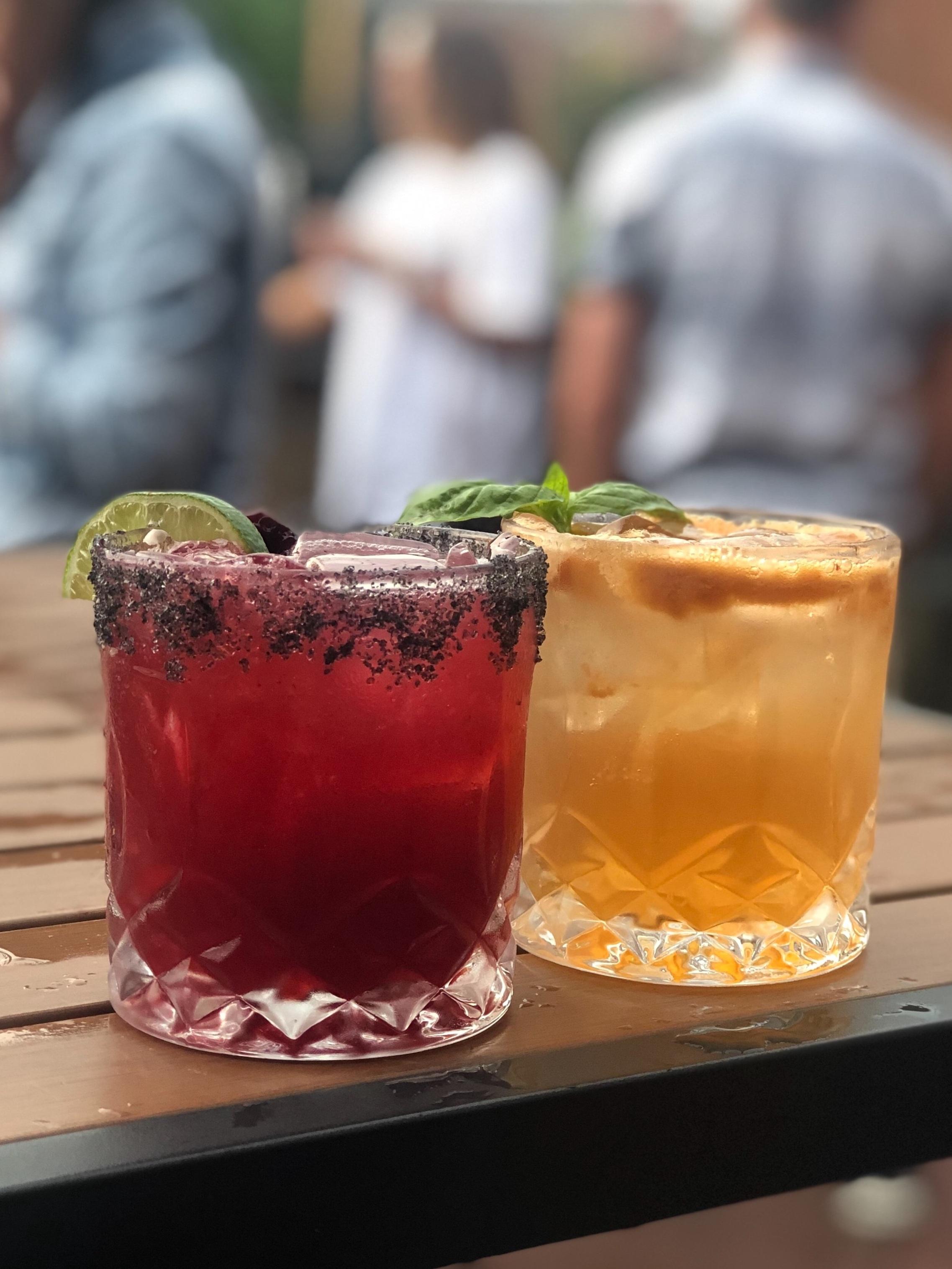 Black Cadillac Margarita (left) and Bulleit Basil Smash (right), Craft Cocktails