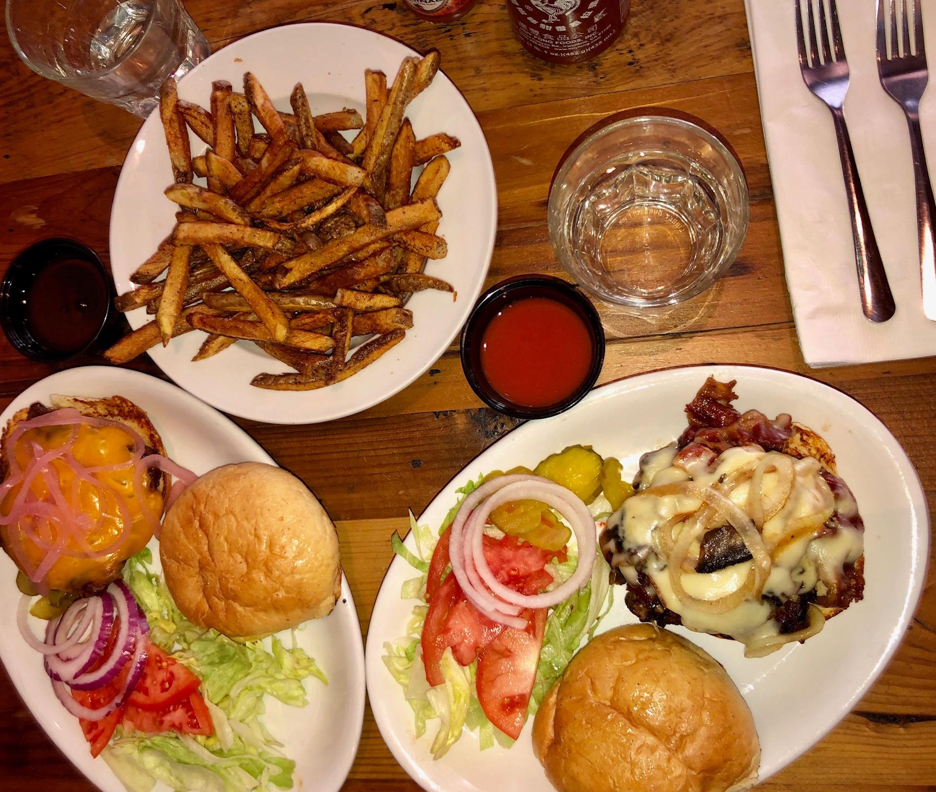 Build it Burger (left), Mushroom Swiss Burger (right), and fries (top)