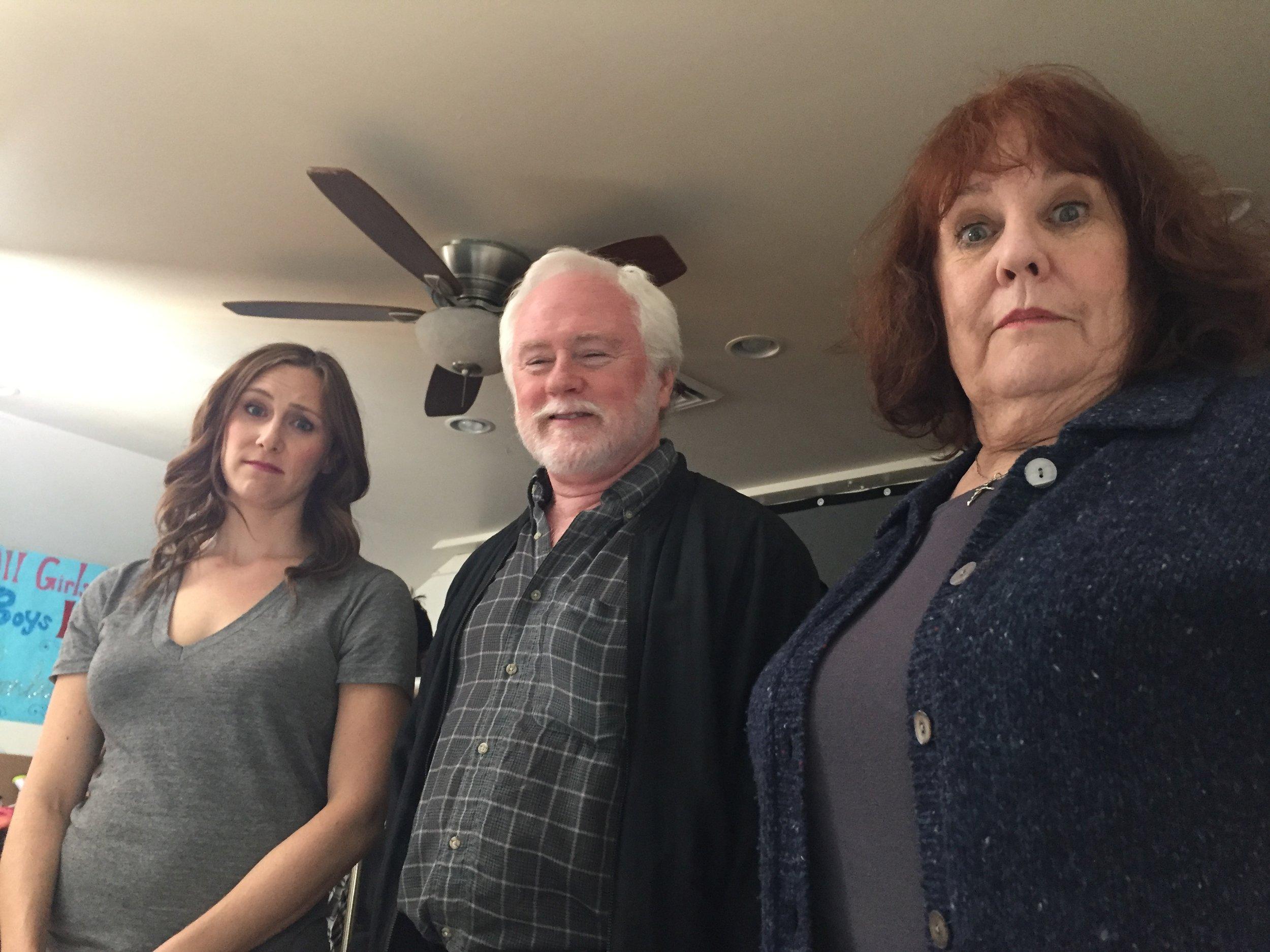 Left to Right: Caley Rose as Jo, Edmund Lupinski as Mo, Carol Kline as Maggie.