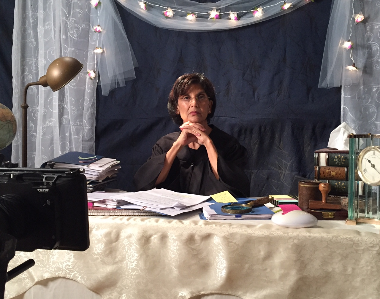 Alison Shanks as Judge in the celestial courtroom.