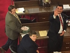 Rep. Elmore and sons at desk