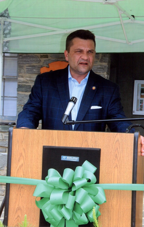 Rep. Elmore speaking at the opening of the Bluff's Camp Store and Gift Shop in Doughton Park on the Blue Ridge Parkway