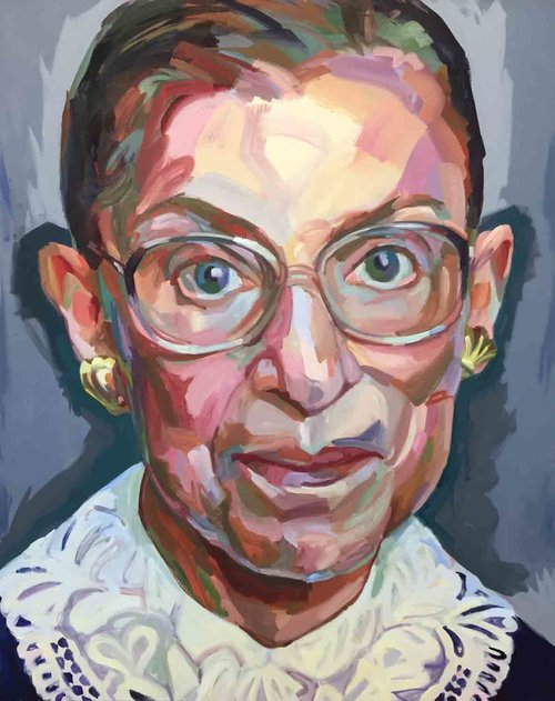 Jo Hay Notorious RBG, Oil on canvas, 48x60""