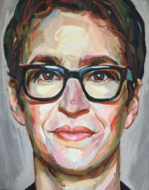 """Maddow (2017, 48"""" x 60"""", oil on canvas) by Jo Hay"""