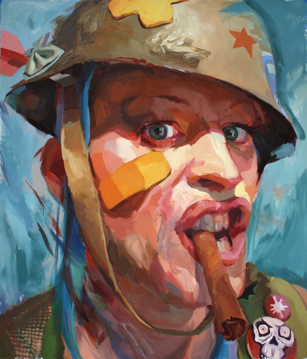 Jo Hay, Tank Girl, Oil on canvas 84 x 72""