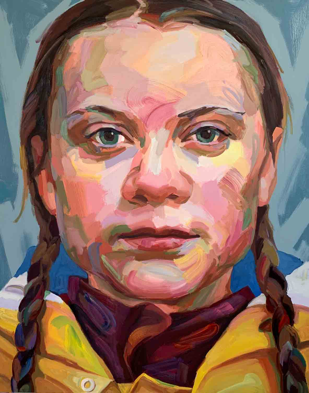 Greta Thunberg, 2019 Oil on canvas, 48x60""