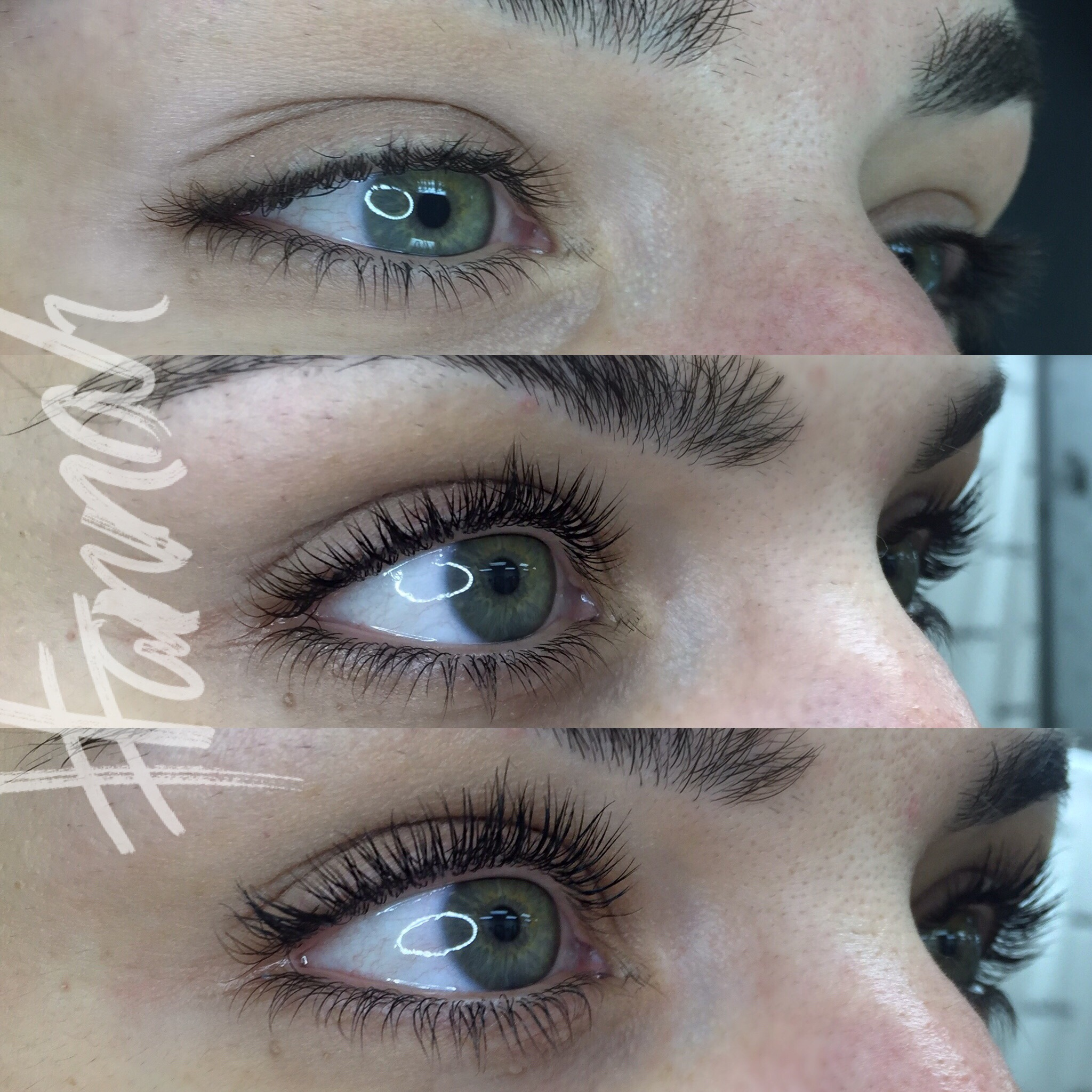 Before, After Lift, After Lift + SPM (top lashes only)