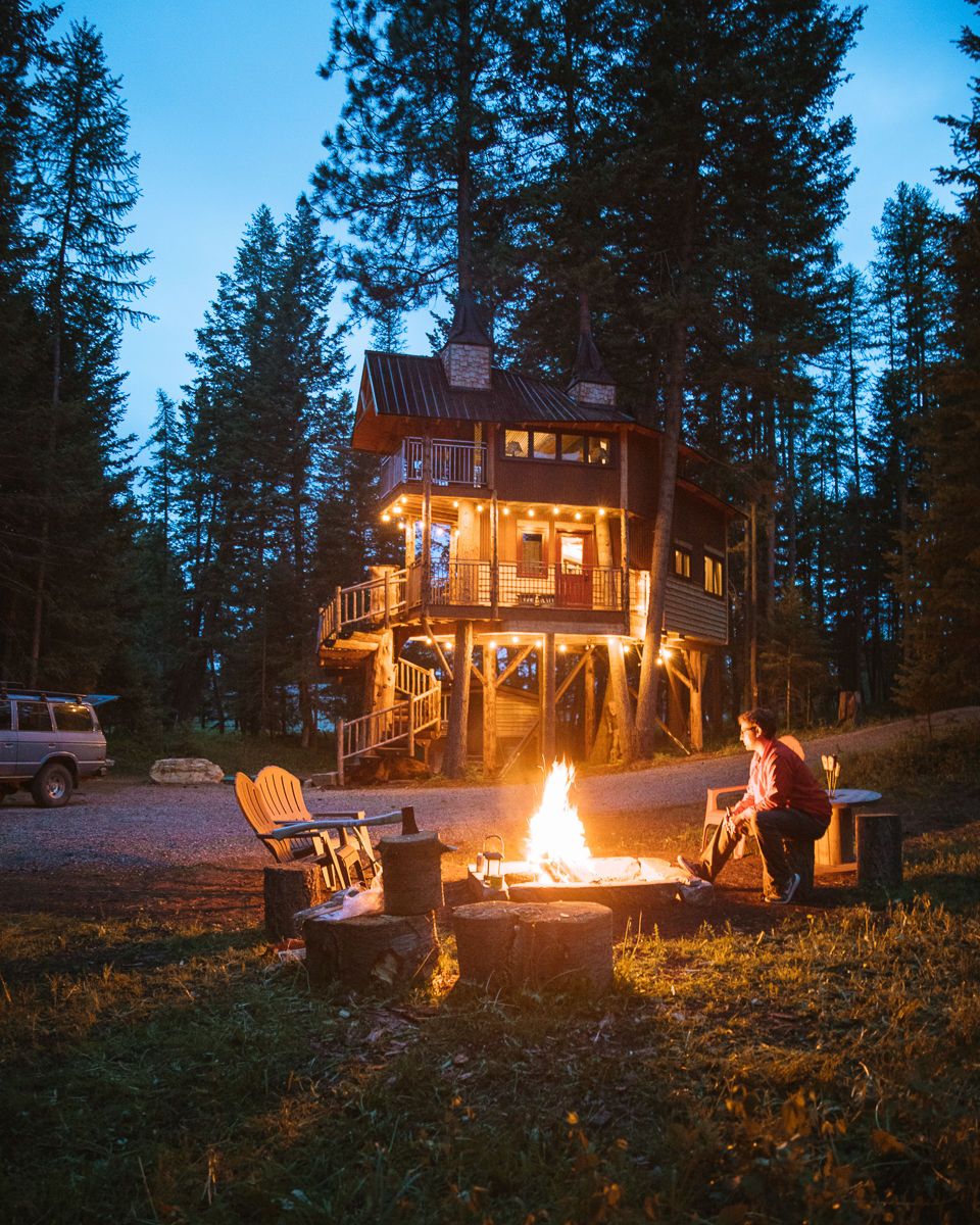 The Montana Treehouse Retreat is set in it's own secluded wooded area equipped with a campfire ring.