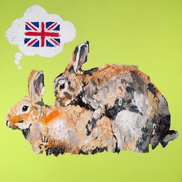 Keep calm and think of England 2018 available at @metro_gallery melbourne. Contact gallery for prices and more information  #melbourne #melbourneartist #metrogallery #martinclaydon #melbourneartists #colonials #keepcalm #rabbits