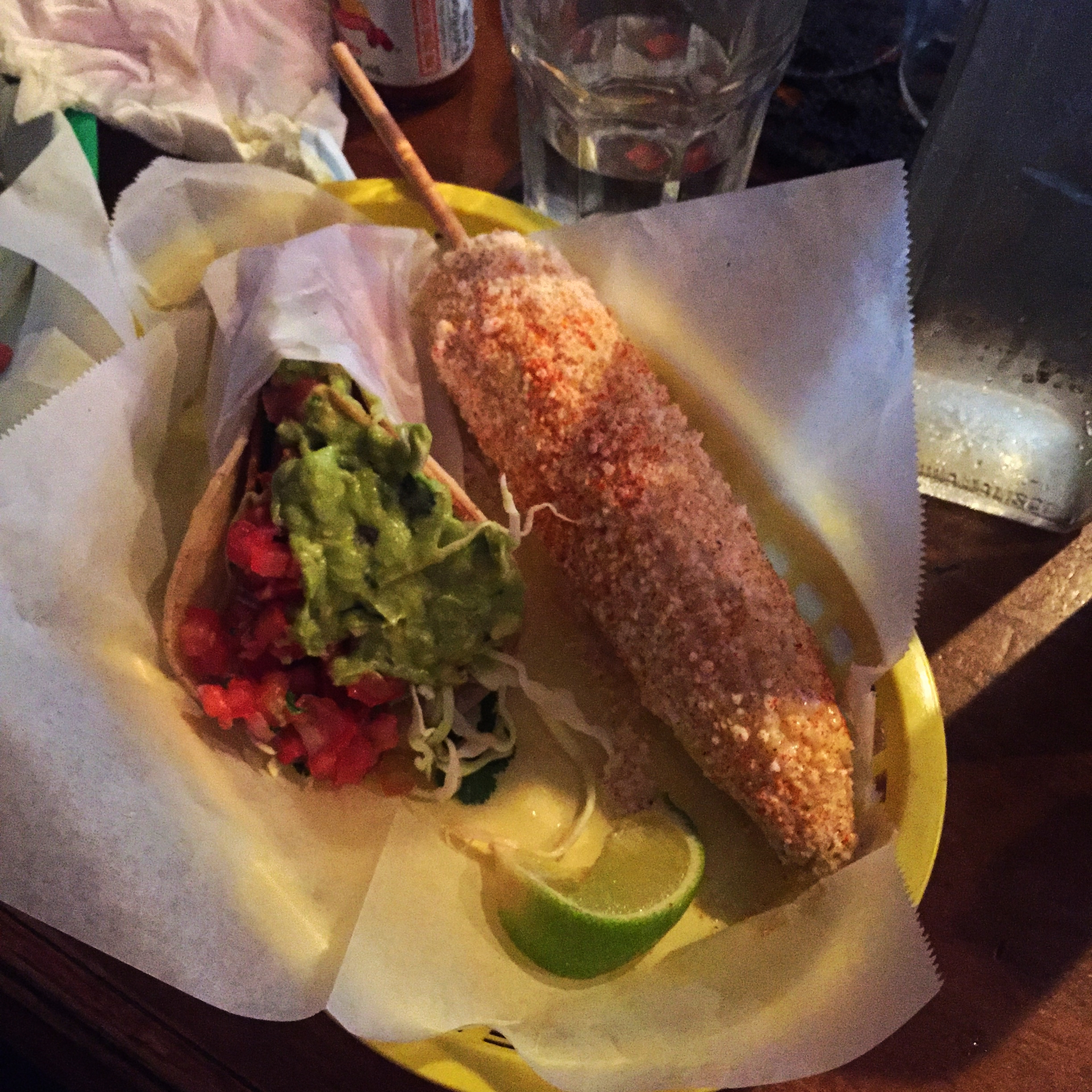 veggie taco/nick's style and elote corn