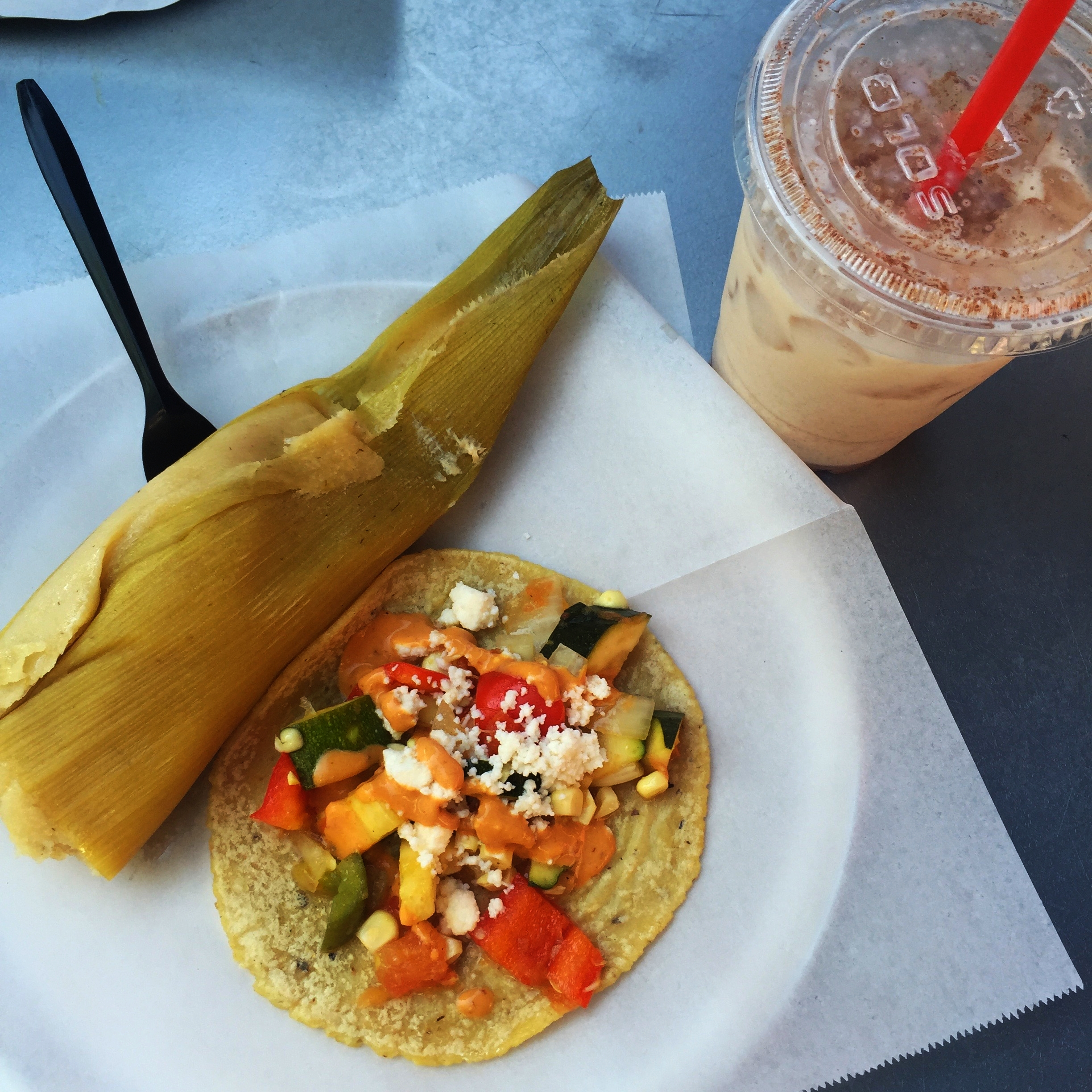 Elote tamale and calabacitas taco