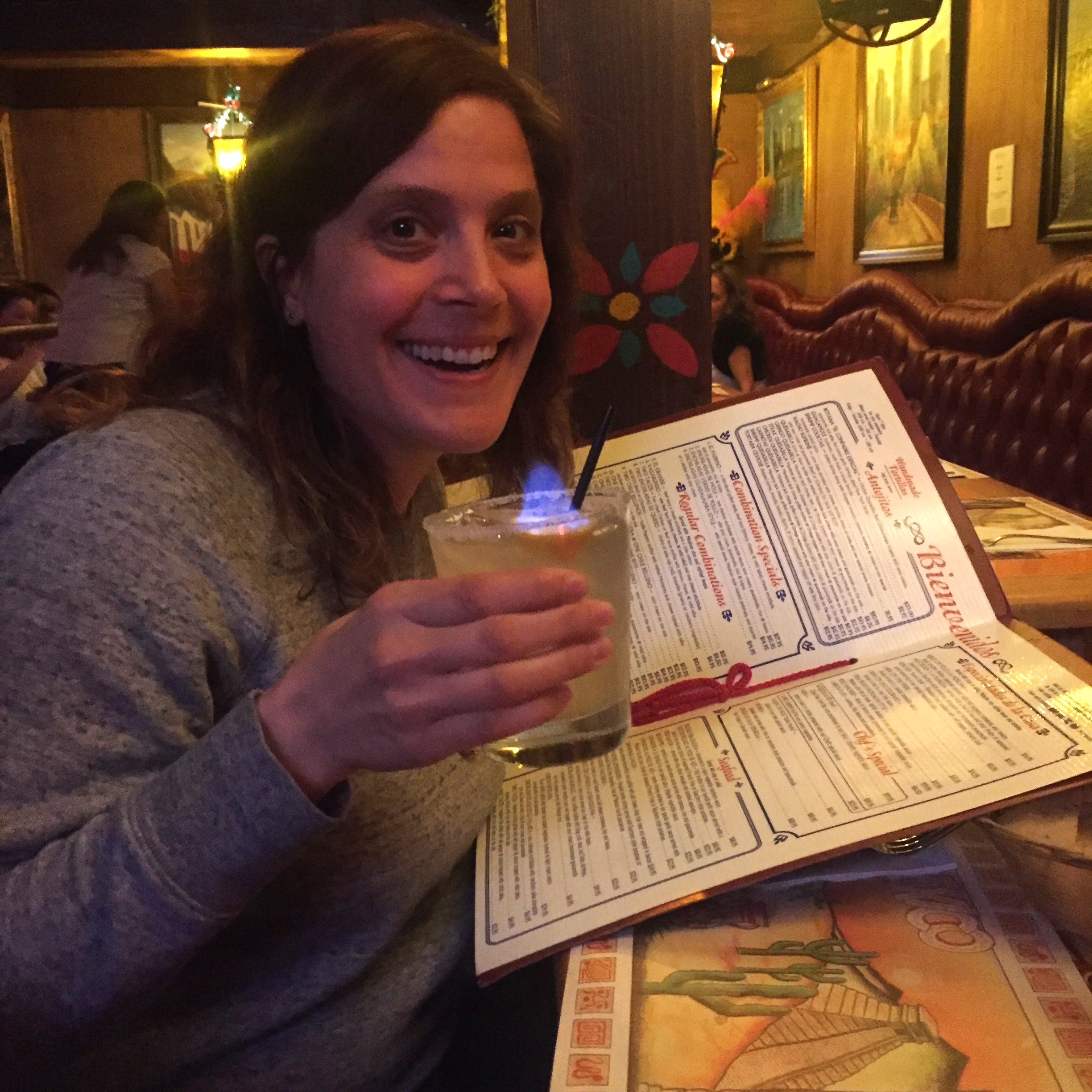 Heather and a flaming margarita