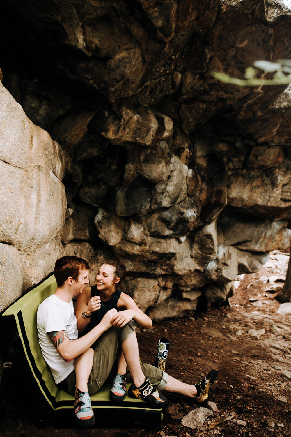 Rock climbing adventure couple session in Evergreen