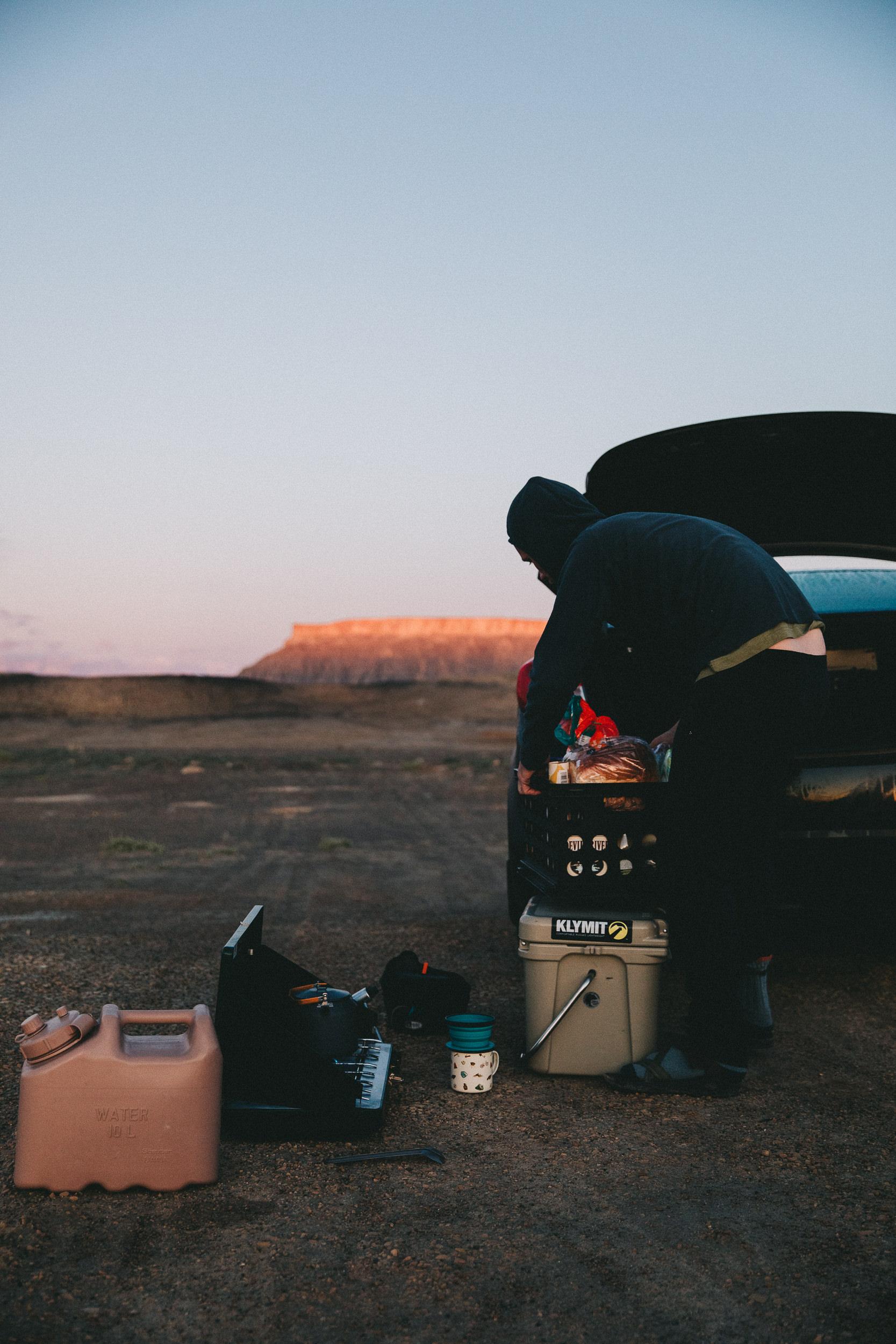 Cooking breakfast while camping in utah