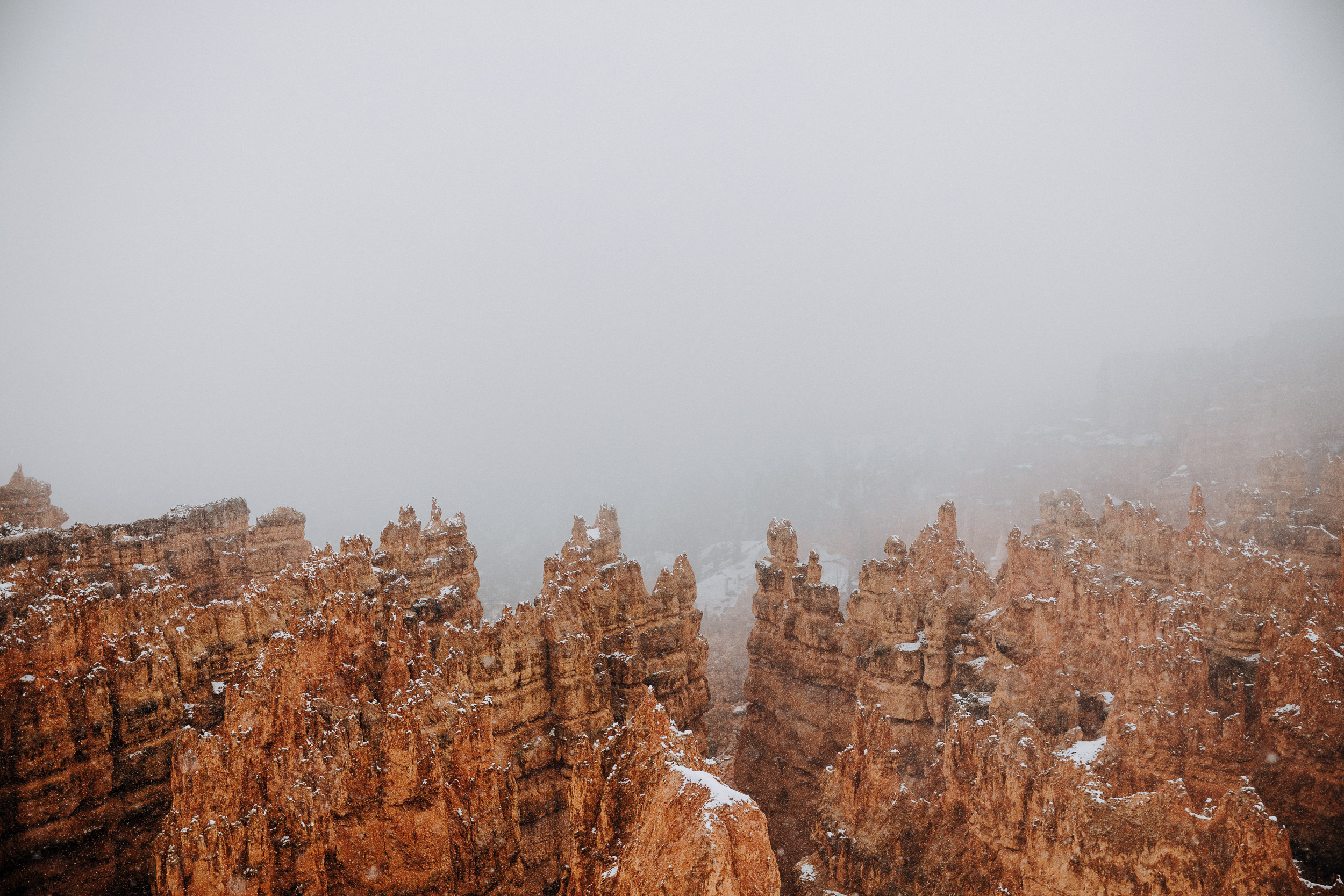 Bryce Canyon National Park covered in snow and fog