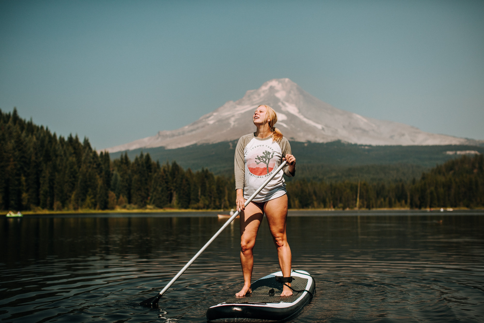 Standup Paddle Board and Parks Project commercial product photographer at Trillium Lake near Mount Hood Oregon
