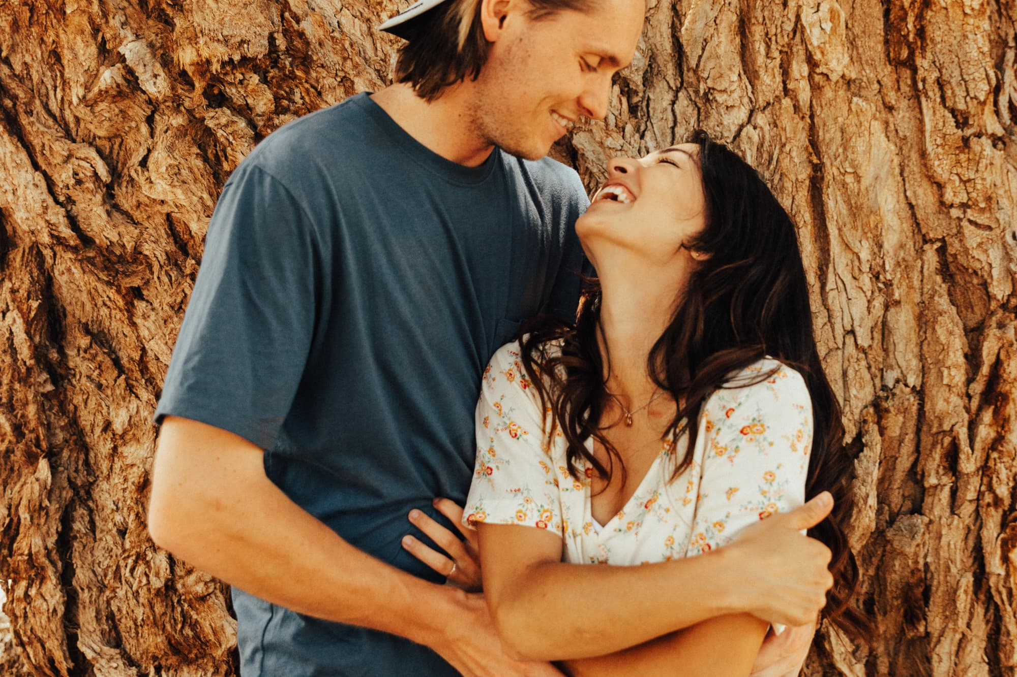 Laughing couple for outdoor photoshoot in Moab
