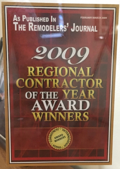 2009 -    The Remodelers' Journal,  Regional Contractor of the Year