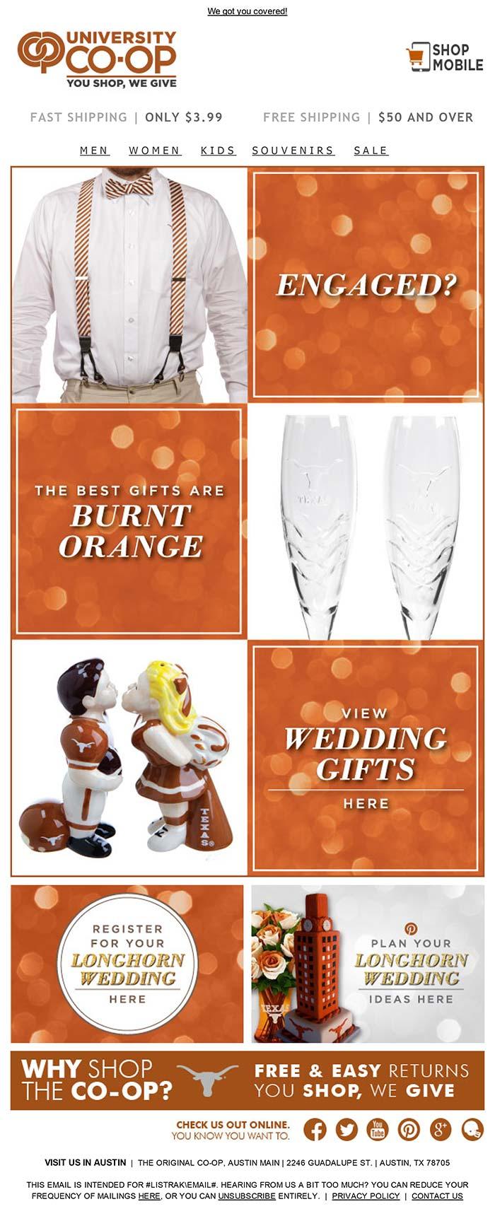 Longhorn Wedding Email