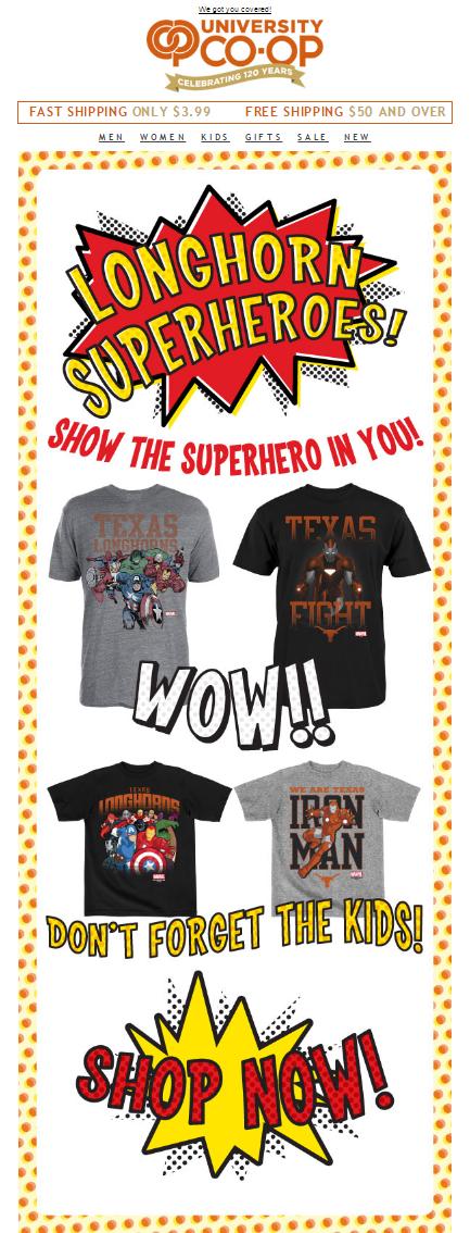 Longhorn Super Heroes Email