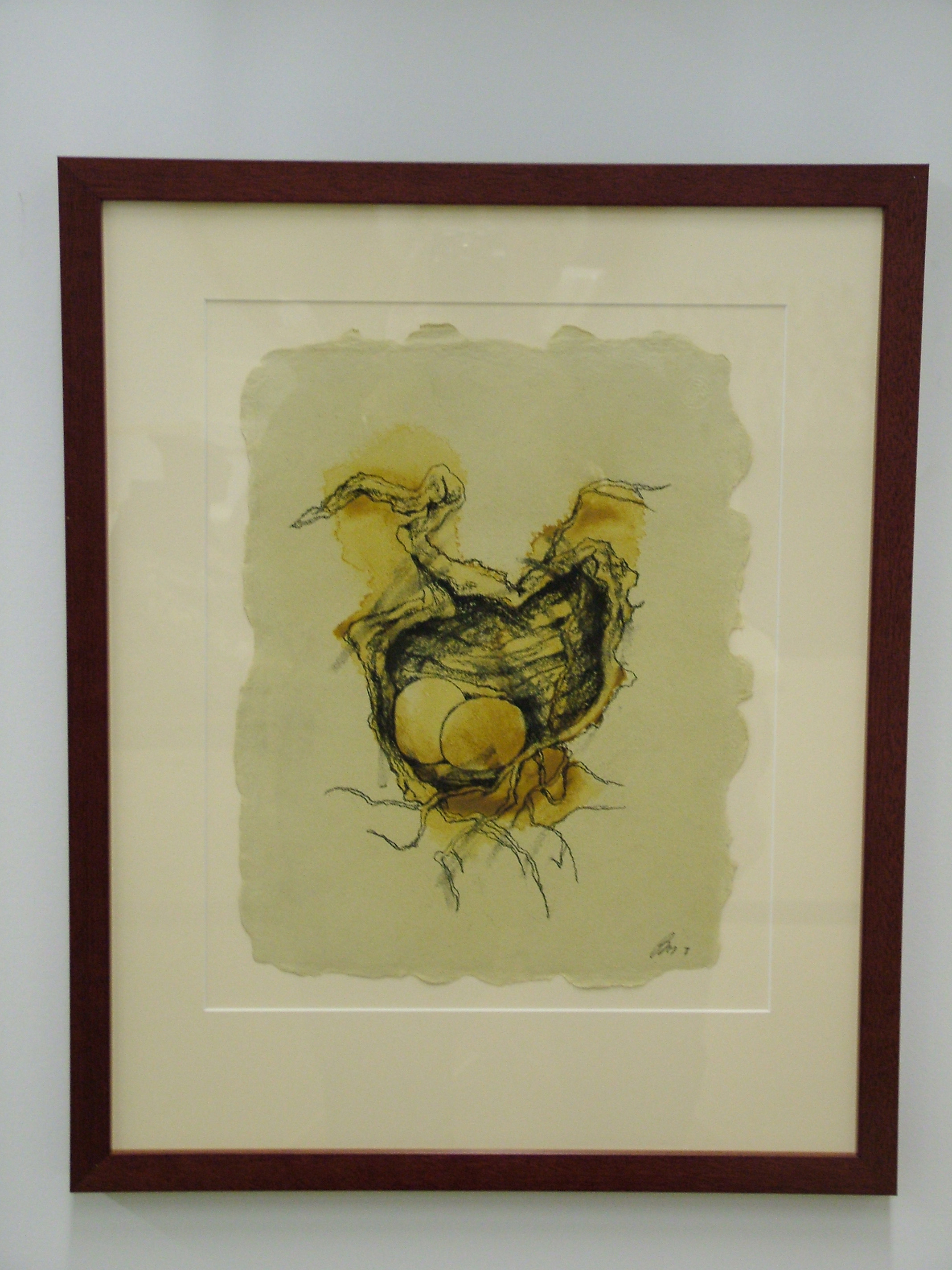 Forest Nest D-7 2008 clay, charcaol, beeswax, paper 15_x19_ (framed) $799.jpg