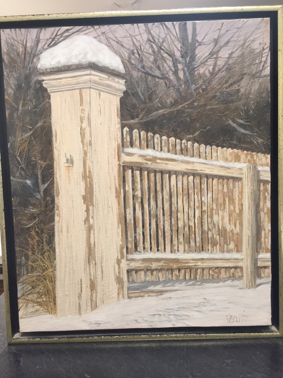 Fence Post in Winter, 14 x 12