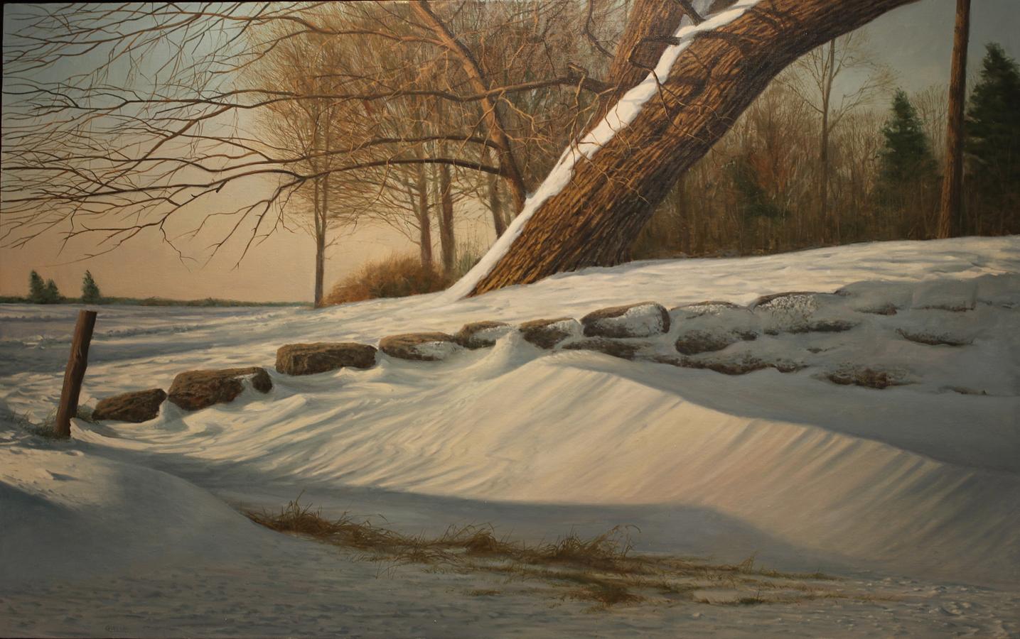 """Joseph Reboli, Unknown Title   Oil on Canvas   64"""" x 40""""  Stony Brook Harbor in the winter."""