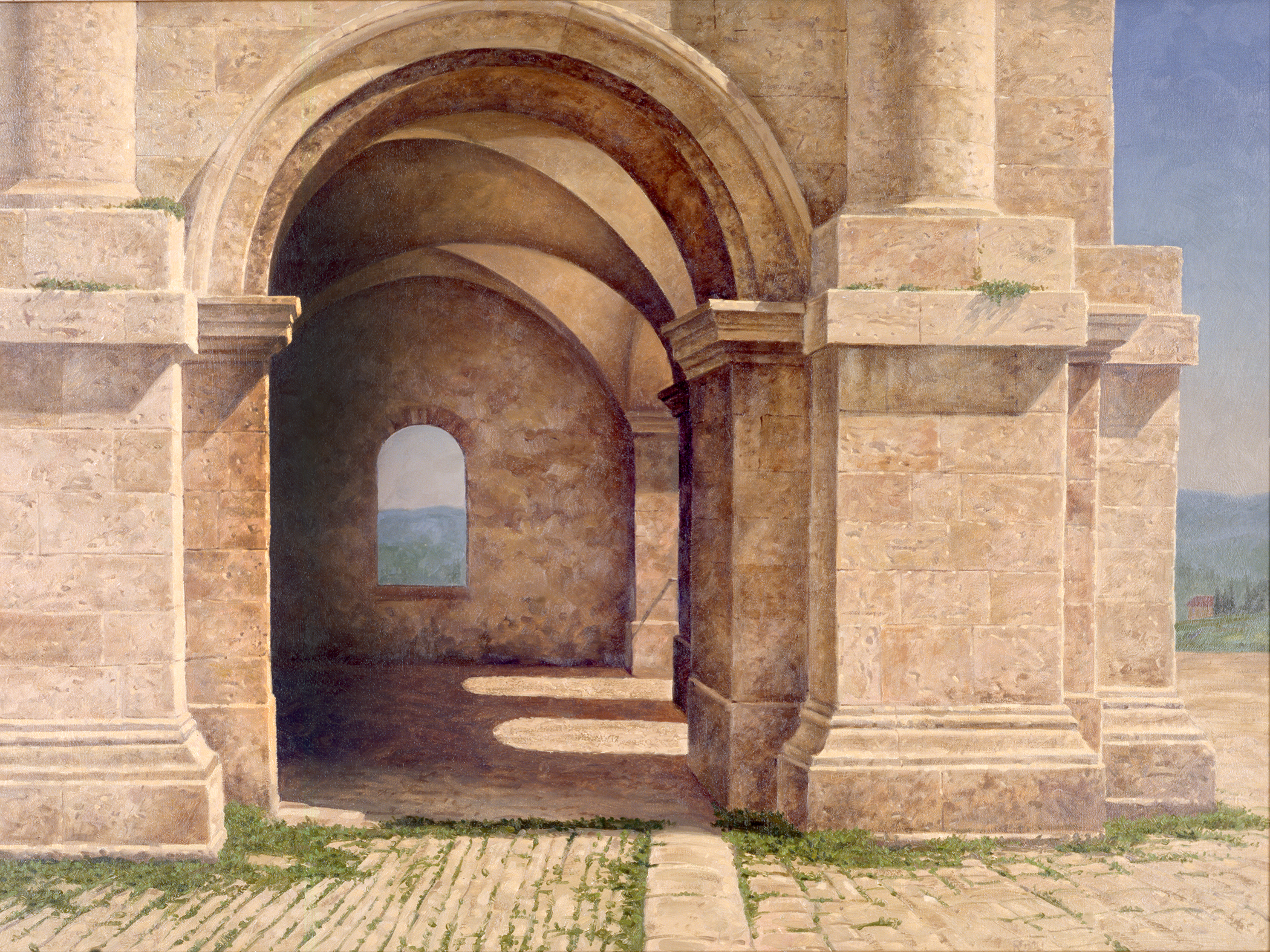 """The featured painting of the exhibit is attached. It is a painting by Joseph Reboli painted during a visit to Italy. It's title is  Roman Ruins,  it is an oil on canvas painting, the size is 42"""" x32""""."""