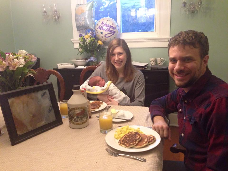 Pancake Day 2015. Our first pancake day as parents! Titus was 5 days old.