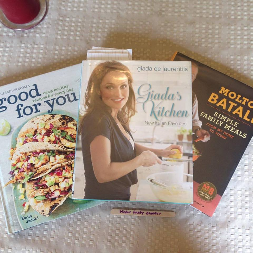 """Some books I picked from the library from which I would """"make tasty dinners."""""""