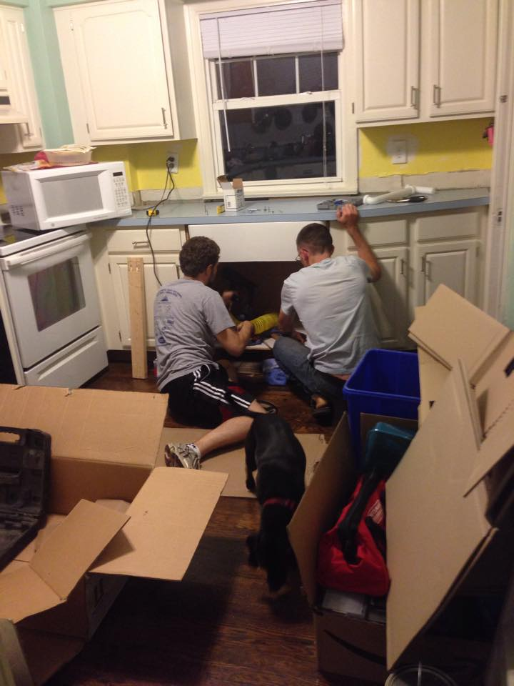 Nick helping Tim install our sink!