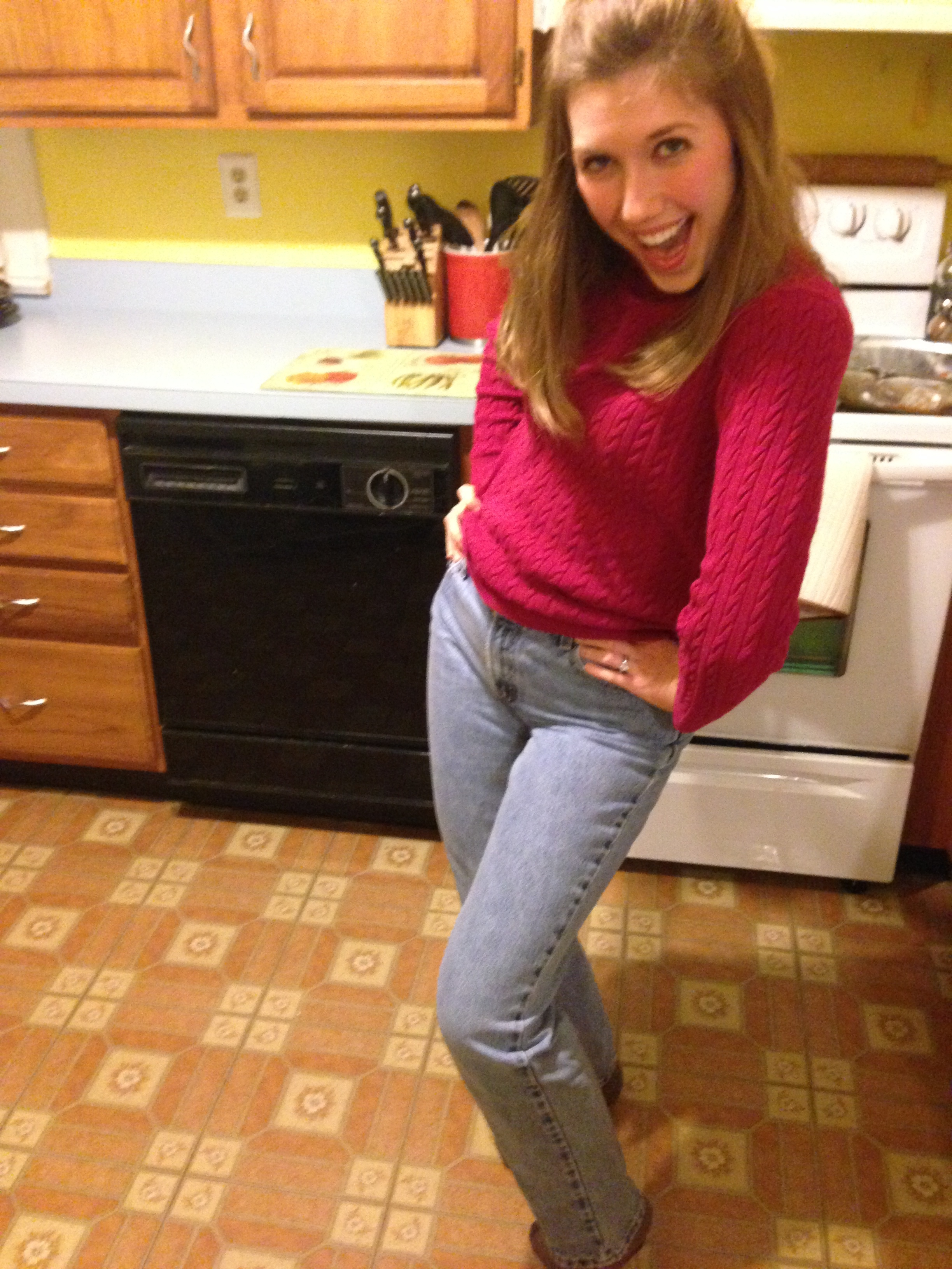 """""""Mom Jeans,"""" pre-babies and pre-kitchen renovation. This was my Jill Taylor costume for Halloween when Tim and I dressed as the show couple from """"Home Improvement."""""""