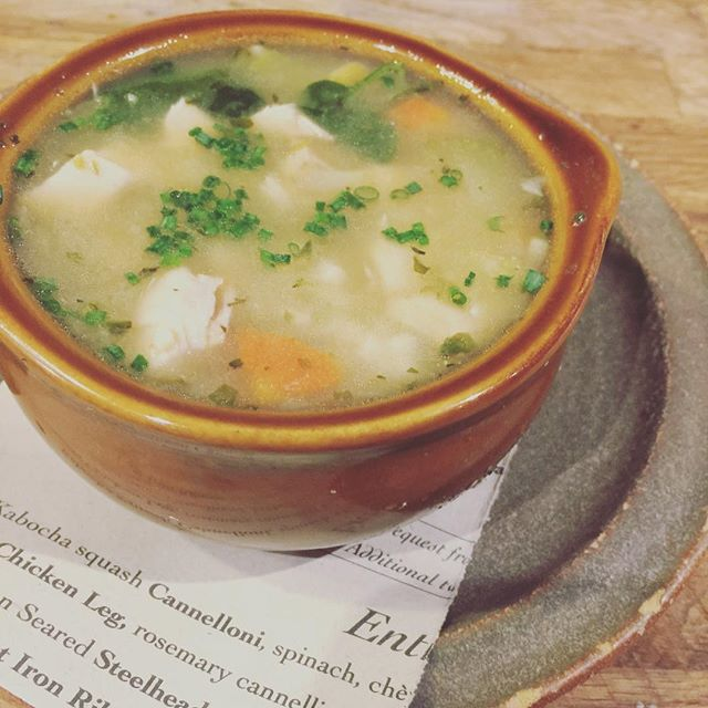 Warm them bones! Roasted chicken 'noodle' soup with cous cous and preserved Meyer lemon.