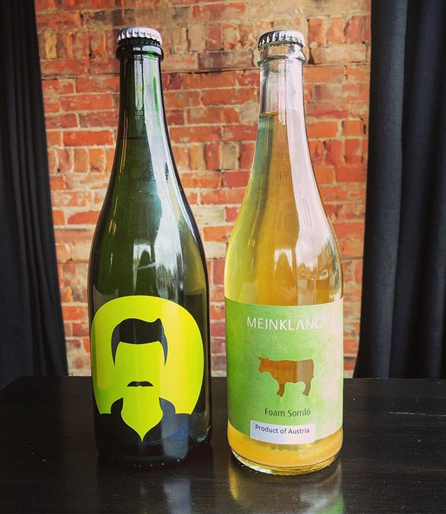 New wines! 'Youngster' by @milannestarec - Nouveau Nueburger/Chardonnay from the Czech Republic, and Foam Somló Pet Nat by Austrian star @meinklang_farm .. It's SPRING and we are going to drink like it! ☘️🌸🌼🌞#glouglou #naturalwine #biodynamic #actinoliterestaurant