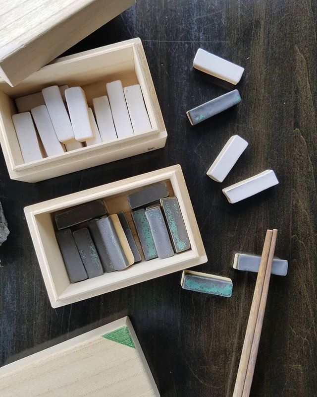 New hand made chopstick holders from our good friends @akai_ceramic_studio