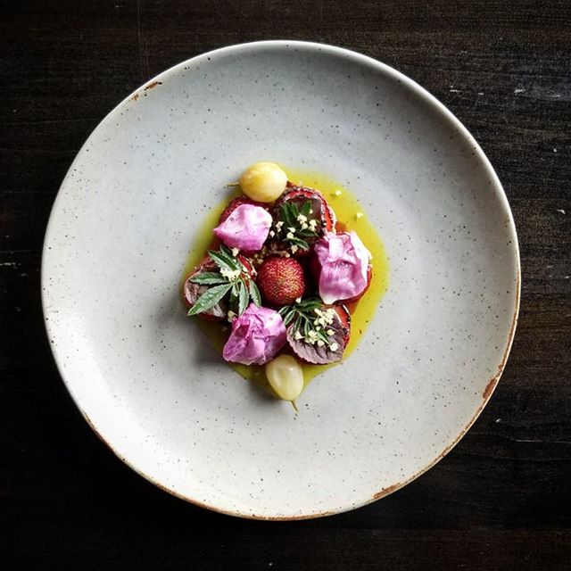 Strawberry, miso, rose. #actinoliterestaurant #savouryfruit #eatlocal #knowyourroots