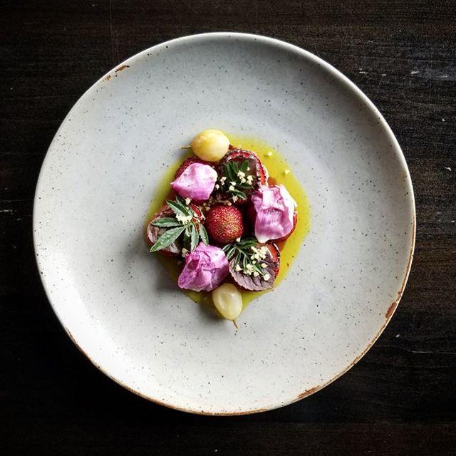 Strawberry, miso, rose. #actinoliterestaurant #savouryfruit #eatlocal #knowyourroots