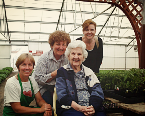 A family affair. - All the Lambert children worked at and help run the greenhouse during their childhood and young adulthood.Lambert's is currently owned and operated by two of Barbara and Paul's daughters, Joan and Marianne.Left to right: Marianne, Joan, Barbara, & sister-in-law Kristi.