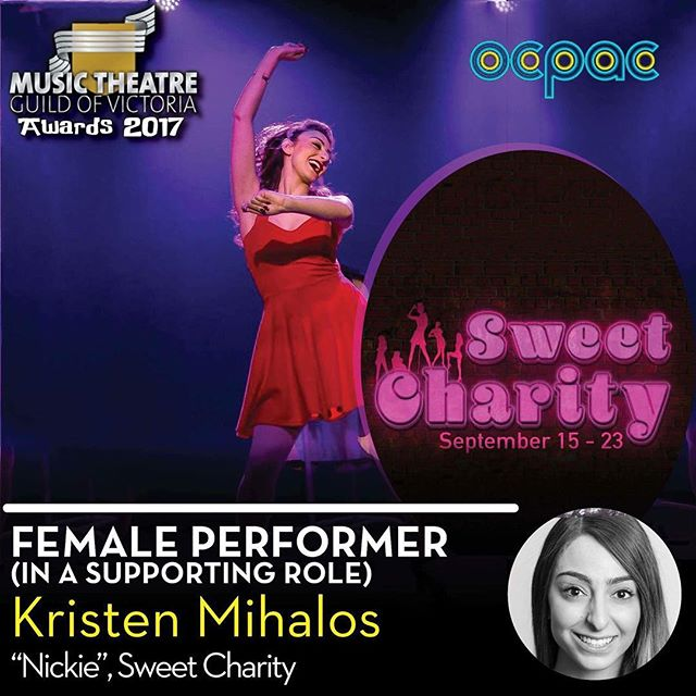 Congratulations to Kristen for landing herself a Guild award in the role of Nickie in Sweet Charity!