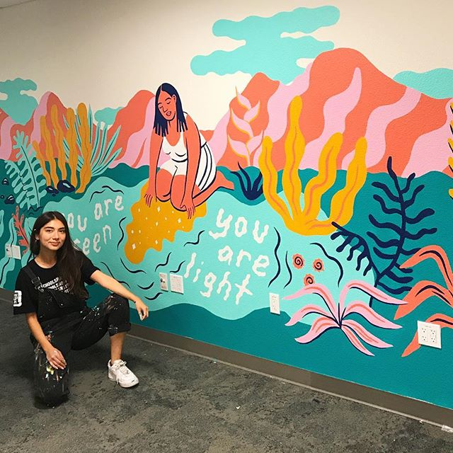 Just spent the week at the Basic Needs Center at UC Berkeley finishing up the rest of the walls 💫💫💫 Thankful that this space exists, and for the opportunity to paint what feels like my dreamscape of affirmations. Swipe for deets 🌹